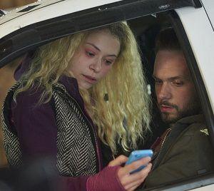 Helena (TATIANA MASLANY) and Jesse (PATRICK J. ADAMS)