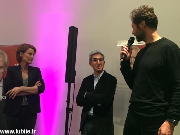 Astrid Whettnall (actrice), Eric Benzekri (créateur) et Thomas Bourguignon (producteur).